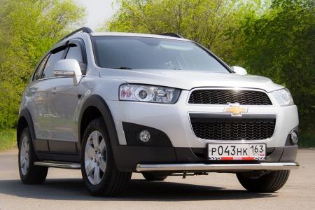 Защита переднего бампера одинарная ?63мм Chevrolet Captiva (нерж) 2012